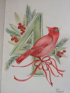 Calling Birds 12 Days of Christmas    Kerri Kimbriel.  Watercolor