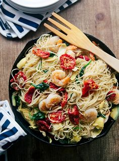 Sun dried tomato pasta with shrimp #food #recipes #dinner