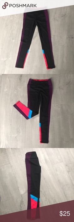 Small Victoria's Secret legging Purple stripe down the side, with blue and red stripe highlight. Victoria's Secret Pants Leggings