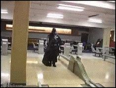 Darth Vader cheating at bowling!