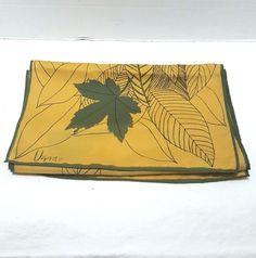 Vintage Vera Neumann Scarf Yellow with Green Leaves 53 inches x 11.5 inches #VeraNeumann