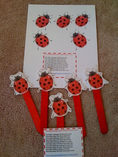Preschool Printables: Free Ladybug Songs and Puppet Sticks - FOR MMSCL - We can use the ladybug ellison die, and paint our sticks red to fit this program. We can even clue the red ladybug ellison dies onto black ovals to get the appearance of black spots. Preschool Music, Preschool Lessons, Preschool Classroom, Preschool Crafts, Crafts For Kids, Kindergarten, Daycare Crafts, Daycare Ideas, Grouchy Ladybug