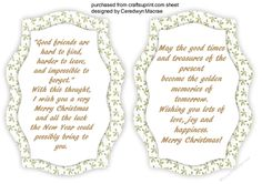 Two bracket Incerts with Verse to make and compliment any Bracket card  there are print and Cut cards to match this design please see the related sheets