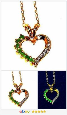 natural Emerald Heart Pendant .25 carats with chain   | eBay  60% OFF #EBAY http://stores.ebay.com/JEWELRY-AND-GIFTS-BY-ALICE-AND-ANN