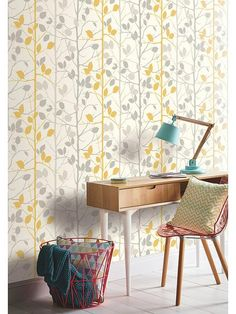 Find Arthouse Woodland Grey & Yellow Wallpaper at Homebase. Visit your local store for the widest range of paint & decorating products. Yellow Grey Wallpaper, Grey And Yellow Living Room, Bedroom Yellow, Living Comedor, Mellow Yellow, Grey Yellow, Tallit, Wall Wallpaper, Cottage Wallpaper