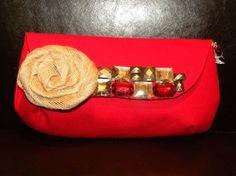 Clutch Purse  The Audrey in Ruby Red by ChiKaPea on Etsy, $40.00
