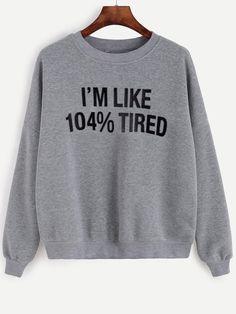 Shop Grey Letter Print Drop Shoulder Hoodie Online Shein Offers - Teen Shirts - Ideas of Teen Shirts - Funny Sweatshirts, Printed Sweatshirts, Printed Shirts, Hoodies, Cute Shirts, Funny Shirts, Teen Shirts, Sarcastic Shirts, Grey Long Sleeve Shirt