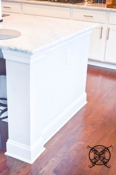Want to Upgrade Your Kitchen Island? This is a super quick, inexpensive, easy weekend project, that provides a lot of character to an otherwise basic kitchen island by adding picture frame molding. In other words, you will get a lot of bang for you buck. Kitchen Island Molding, Hanging Kitchen Cabinets, Painted Kitchen Island, Painting Kitchen Countertops, Blue Kitchen Island, Painting Cabinets, Basic Kitchen, Kitchen Corner, Kitchen Redo