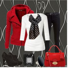 Black/white/red together, scarf, shoes, jacket. Love it all