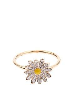 ALISON LOU Diamond, enamel & yellow-gold Daisy ring