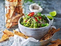 Looking for delicious and easy snack ideas? Whip up a batch of this tasty (and healthy!) chia and tomato guacamole with sumac crisps!