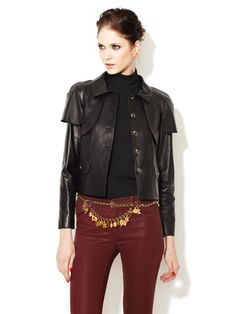 Chanel Black Leather Cropped Jacket