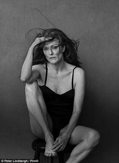 Leading lady: Julianne Moore, 55, features in Pirelli's 2017 calendar - which celebrates 'natural beauty and femininity'