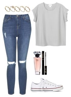 """Simple"" by maevadirectioner ❤ liked on Polyvore featuring moda, Monki, Converse, Topshop, ASOS y Lancôme"