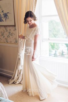 Look this A line summer wedding dress, made of soft material, simple design, but elegant. Boat neckline cap sleeveless bodice decorated with small handmade flowers on the empire waist. Greek Wedding Dresses, Second Hand Wedding Dresses, Summer Bridesmaid Dresses, Custom Wedding Dress, Wedding Dresses For Sale, Cheap Wedding Dress, Wedding Gowns, Bridal Gown Styles, Bridal Dresses