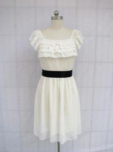 BL159DW White Chiffon Ruffle Front w Belt Bridesmaid Wedding Party Dress L | eBay