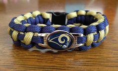 Custom Handmade Football Paracord Bracelet with St Louis Rams Charm