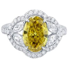 2.81 Carats Fancy Dark Brownish Greenish Yellow Diamonds Gold Ring | From a…