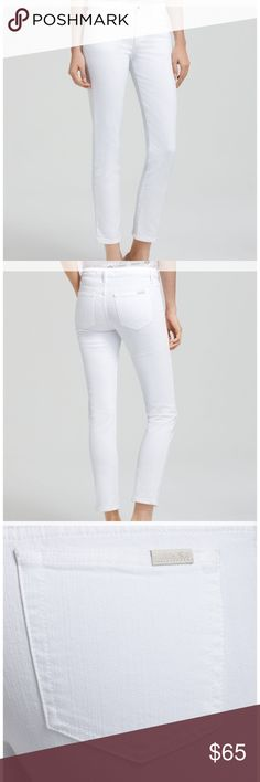 "Joe's White Straight Leg Ankle Jeans (Bonnie) Bright white stretch jeans in a chic ankle length are cut with slim, straight legs for a flattering fit. Zip fly with button closure, five-pocket style, cotton/elastane; machine wash although dry cleaning is recommended, inseam 28"", rise 9"", length from waistband is 36"". Joe's Jeans Jeans Straight Leg"