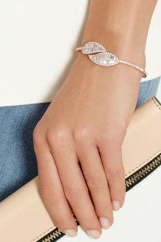 gold diamond pave and baguette leaf bracelet. Diamond Bracelets, Sterling Silver Bracelets, Diamond Jewelry, Bangle Bracelets, Ladies Bracelet, Heart Bracelet, Diamond Rings, Silver Ring, Bangles