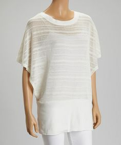 Look what I found on #zulily! Ivory Sheer Knit Cape-Sleeve Top by ravel #zulilyfinds
