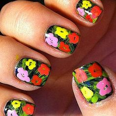 """If I had the ability to do my nails to look like Andy Warhol's """"Flowers"""" Painting, I so would......"""