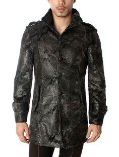 Viper Design Slim Fit Button Front High Neck Jacket Coat