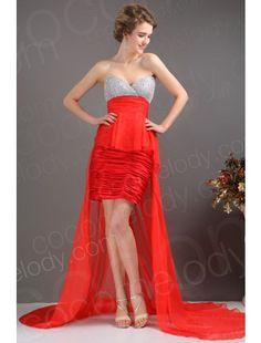 Sweetheart Asymmetrical Chiffon Red Cocktail Dress