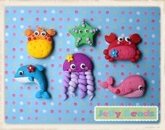 sea animals set of beads/charms/bow centers by jelly beads, via Flickr