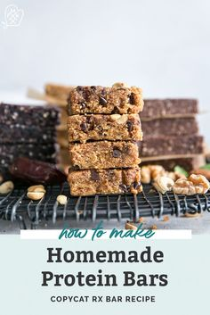 Homemade Protein Bars - 4 ways! Same base recipe – change up your mix-ins. These are like copycat homemade RXBARS and the flavors are spot on! So easy to make at home. Paleo friendly and no added sugar recipes. Paleo Protein Bars, Protein Bar Recipes, Protein Cake, Protein Snacks, Healthy Snacks, Protein Muffins, Protein Cookies, Healthy Breakfasts, High Protein
