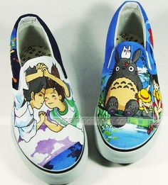 My Neighbor Totoro Slip-on Sneakers for Men and Women,Slip-on Painted Canvas Shoes