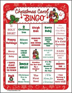 Christmas Bingo easy and fun. Holiday images replace traditional Bingo numbers so all ages can play. Make your Christmas Party a fun event for all with printable Christmas Bingo. Christmas Trivia, Favorite Christmas Songs, Christmas Carol, Christmas Printables, Family Christmas, Christmas Holidays, Christmas Ideas, Christmas Stuff, Christmas Skits