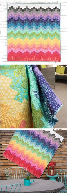 Tula Pink quilt fabrics and pattern and a variety of prints from Tulas gorgeous True Colors collection, to sew this beauty. Featuring an ombr-inspired quilt, sensational mix of hues and marvelously modern prints, this quilt top is a true showstopp