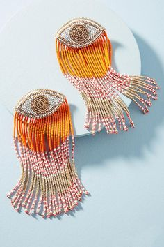 Slide View: 1: Eye Tassel Drop Earrings