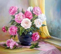 pinturas al oleo de flores cartuchos - Buscar con Google
