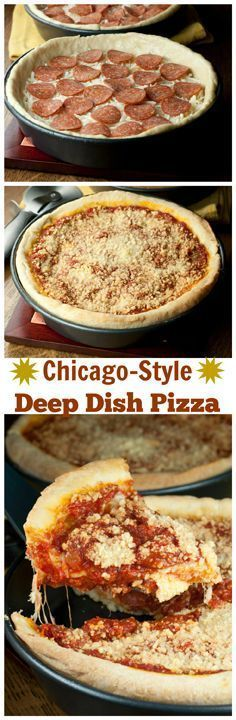 Recipe for Chicago-Style Deep Dish Pizza is an authentic Italian main course or appetizer recipe with a buttery crust, homemade tomato sauce, and plenty of melted mozzarella cheese! Your whole family will go crazy for this.