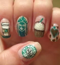 Starbucks Nails YES WHERE HAS THIS BEEN ALL MY LIFE!! MACKENZIE BROOKE PARKER!! CAN WE PLEASE DO THIS!!