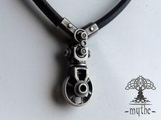 Men's pendant biomech elegant industrial Oxidized Silver Pendant Necklace Cyberpunk Steampunk Sterling Silver Turbine  / giger / motocycles