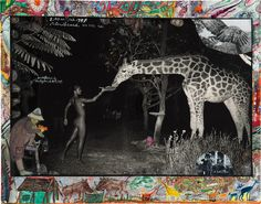 "Peter Beard Black and White Photograph - ""Beyond Gauguin"", Night Giraffe Feeding Peter Beard, Edith Bouvier Beale, Camera Photography, Girl Photography, Animal Photography, Candice Bergen, Lee Radziwill, Richard Avedon, Jackie Kennedy"