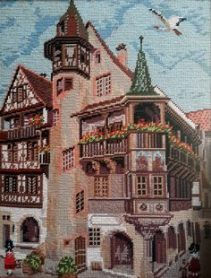 Bavarian town buildings -  hand stitched needlepoint tapestry ideal for…