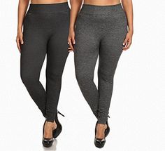 ShoSho Women's Plus Size Basic Leggings (2X/3X, Twill Knit 2PK: H.Black&H.Charcoal) 68% Polyester, 22% Cotton, 10% SpandexGorgeous thick heather twill knit leggings are the perfect leggings!French Terry lining provides warmth to these stylish leggingsA must for any women's closet!  7 for all mankind, adriana goldschmied, Bootcut, Cigarette, Denim, dl1961, Hollister, Hudson, hudson jeans, j brand, jeans, Jeggings, levi, miss me jeans, paige denim, paige jeans, rive