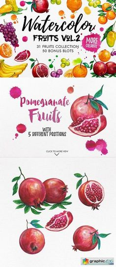 Watercolor Fruits Vol. 2  stock images