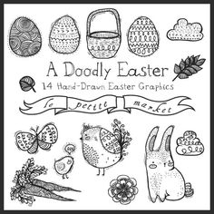 Doodly Hand Drawn Easter Clip Art Hand Sketched by LePetiteMarket