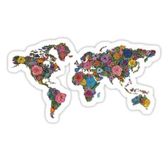 """""""Floral World Map"""" Stickers by Julia Christina Stickers Cool, Bubble Stickers, Phone Stickers, Printable Stickers, Planner Stickers, Tumblr Sticker, World Map Sticker, Homemade Stickers, Aesthetic Stickers"""