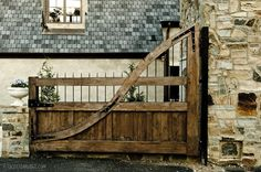 wooden gate - images from Christopher Architecture and Interiors on Dering Hall Tor Design, Gate Design, Front Gates, Entrance Gates, Driveway Entrance, Wrought Iron Driveway Gates, Driveway Paving, Wooden Gates, Fence Gate