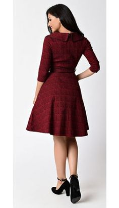 Voodoo_Vixen_Red_Black_Glen_Check_Quarter_Sleeve_Lily_Swing_Dress.jpg (264×460)