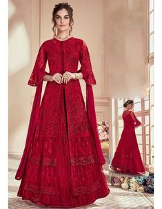Red designer lehenga style suit online which is crafted from net fabric with exclusive embroidery and stone work. This latest partywear lehenga style suit comes with net bottom and chiffon dupatta. Lehenga Anarkali, Long Choli Lehenga, Lehenga Suit, Lehenga Choli Online, Anarkali Suits, Bridal Lehenga, Sharara Suit, Punjabi Suits, Abaya Style