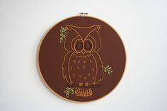 {Hand Embroidery Hoop - Old School Owl} by moxiedoll