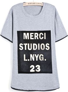 Camiseta combinada dobladillo letras manga corta-gris EUR€18.12