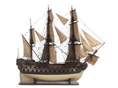 """Modèle du """"Vainqueur"""" ( 1750),  vaisseau de 60 canons, c. 1750 - National Maritime Museum"""